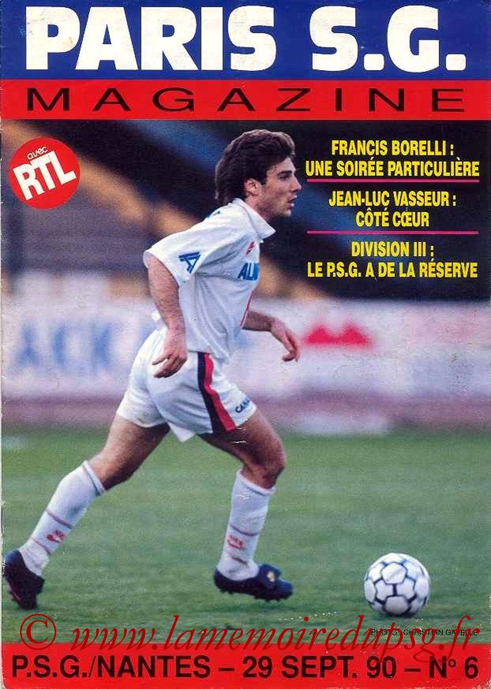 1990-09-29  PSG-Nantes (11ème D1, Paris SG Magazine N°6)