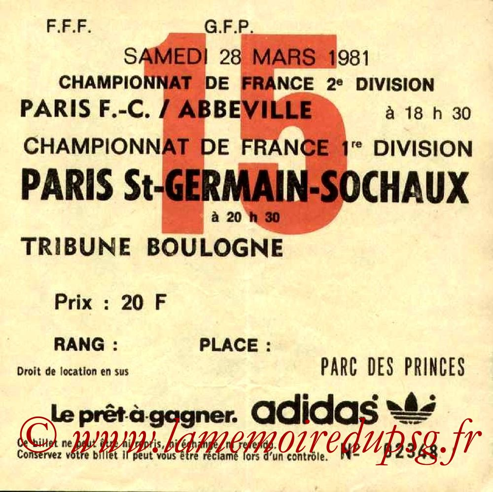 1981-03-28  PSG-Sochaux (30ème D1, Ticket N°15)