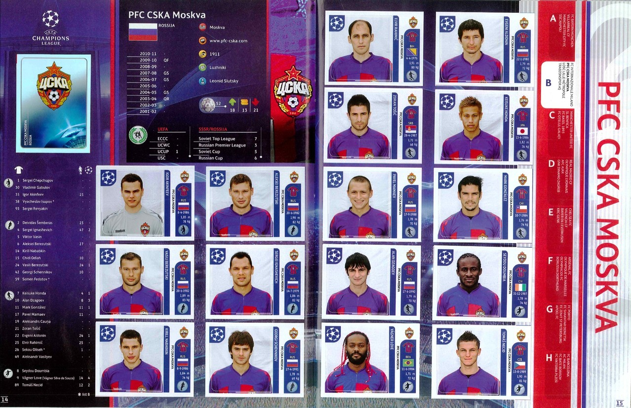 2011-12 - Panini Champions League - Pages 14 et 15 - CSKA Moscou