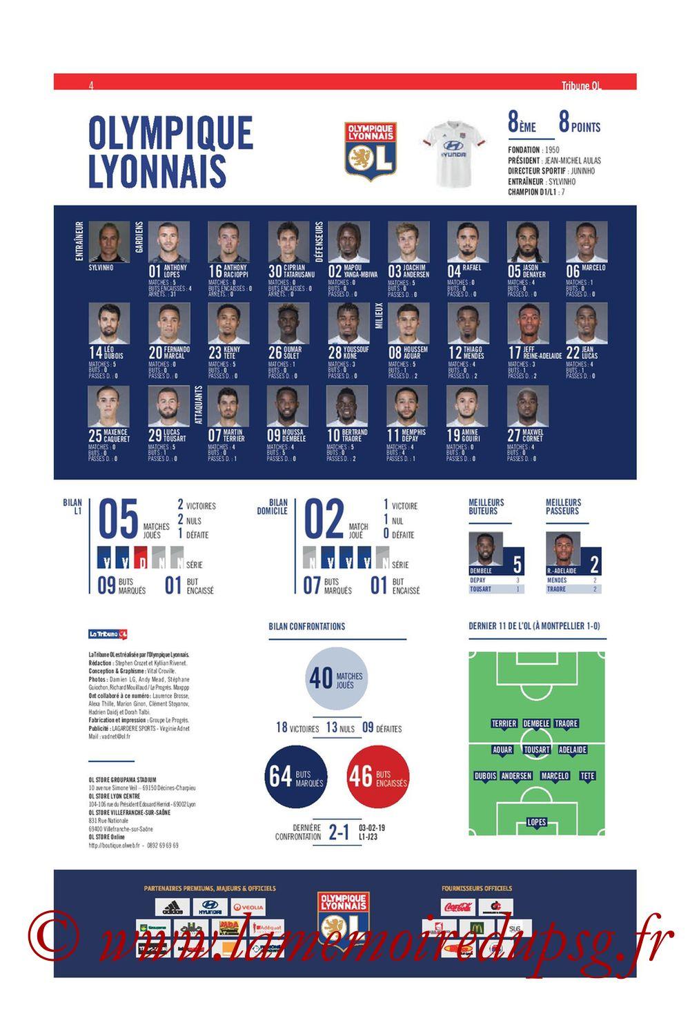 2019-09-22  Lyon-PSG (6ème L1, Tribune OL N°284) - Page 04
