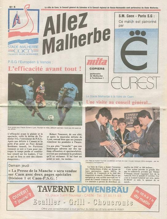 1989-10-04  Caen-PSG (13ème D1, Allez Malherbe N°6)