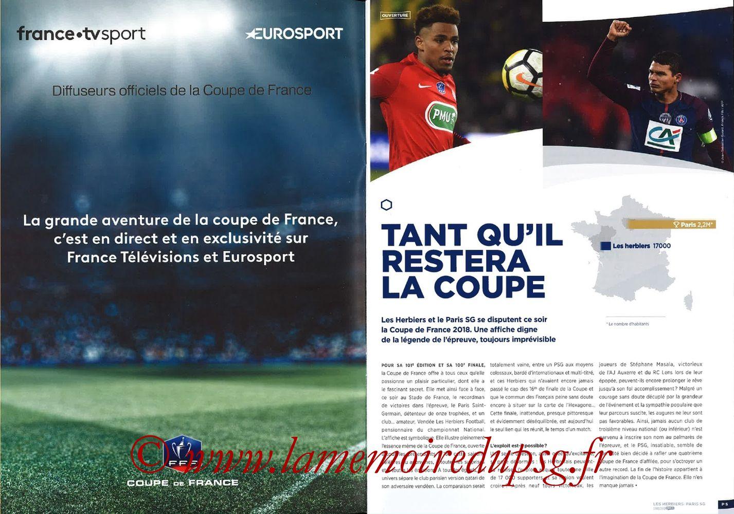 2018-05-08  Les Herbiers-PSG (Finale CF à Saint-Denis, Programme officiel FFF) - Pages 04 et 05