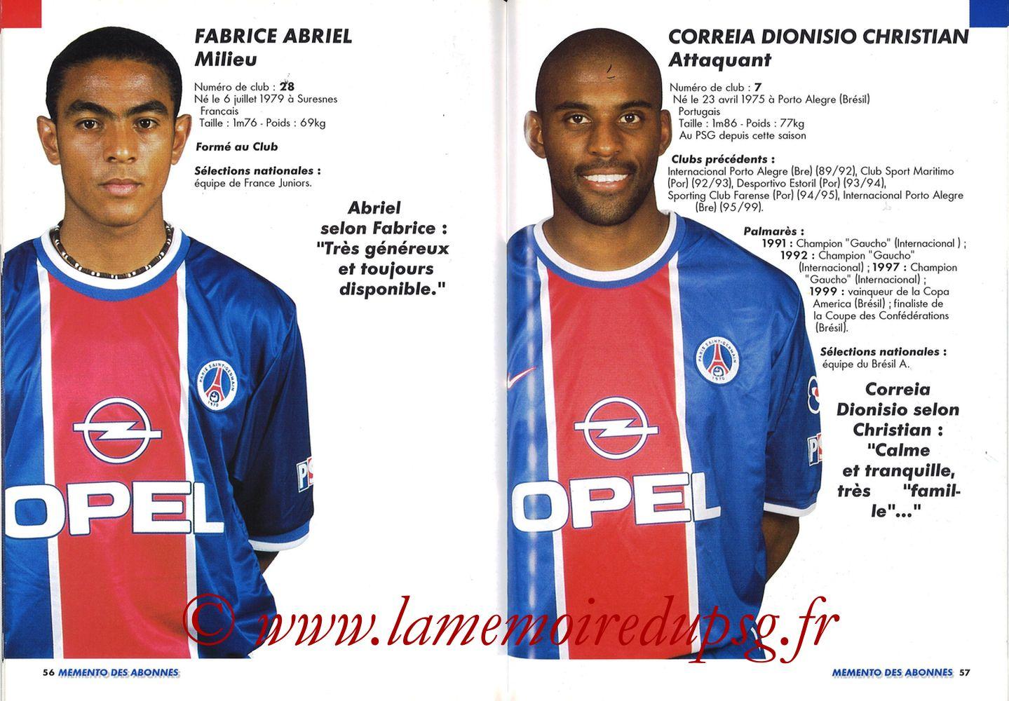 1999-00 - Guide de la Saison PSG - Pages 56 et 57
