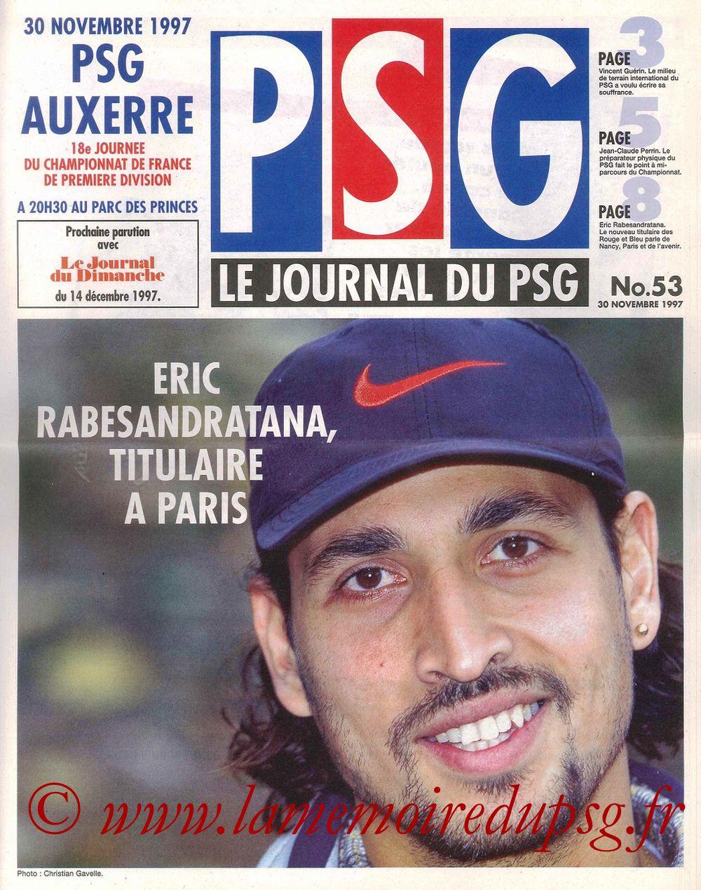 1997-11-30  PSG-Auxerre (18ème D1, Le Journal du PSG N° 53)