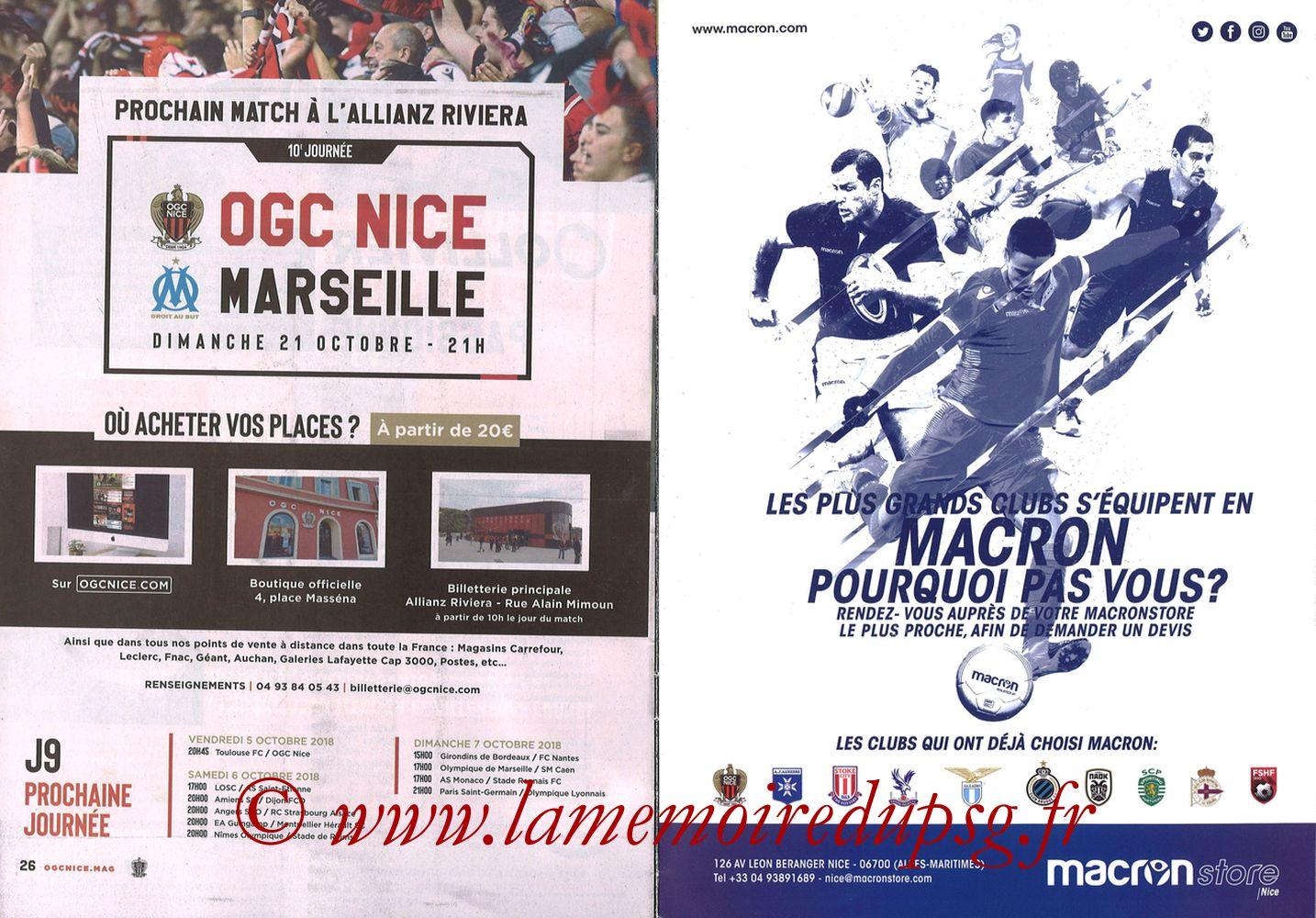 2018-09-29  Nice-PSG (8ème L1, Ogcnice.Mag N°313) - Pages 26 et 27