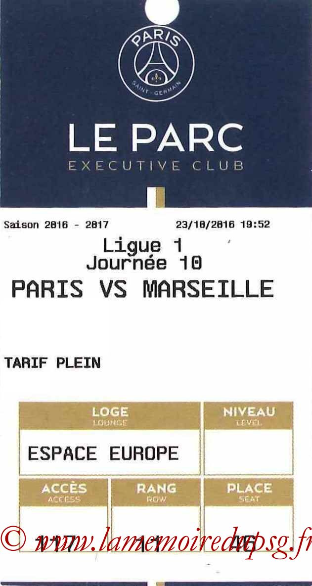 2016-10-23  PSG-Marseille (10ème L1, E-ticket Executive club)