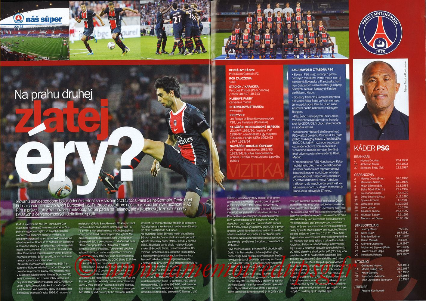 2011-10-20  Slovan Bratislava-PSG (3ème C3, Slovan N°4) - Pages 22 et 23