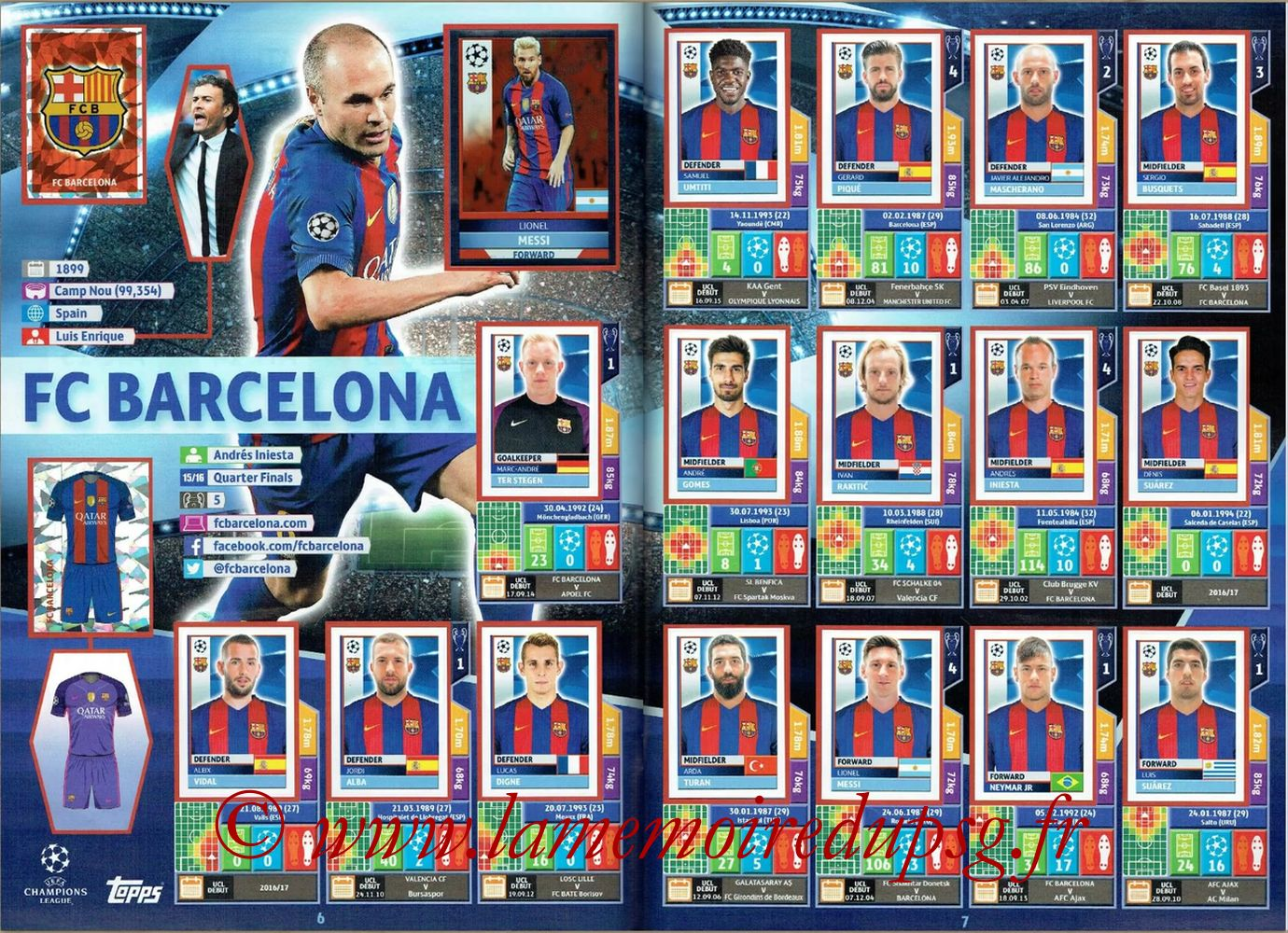 2016-17 - Topps UEFA Champions League Stickers - Pages 06 et 07 - FC Barcelone