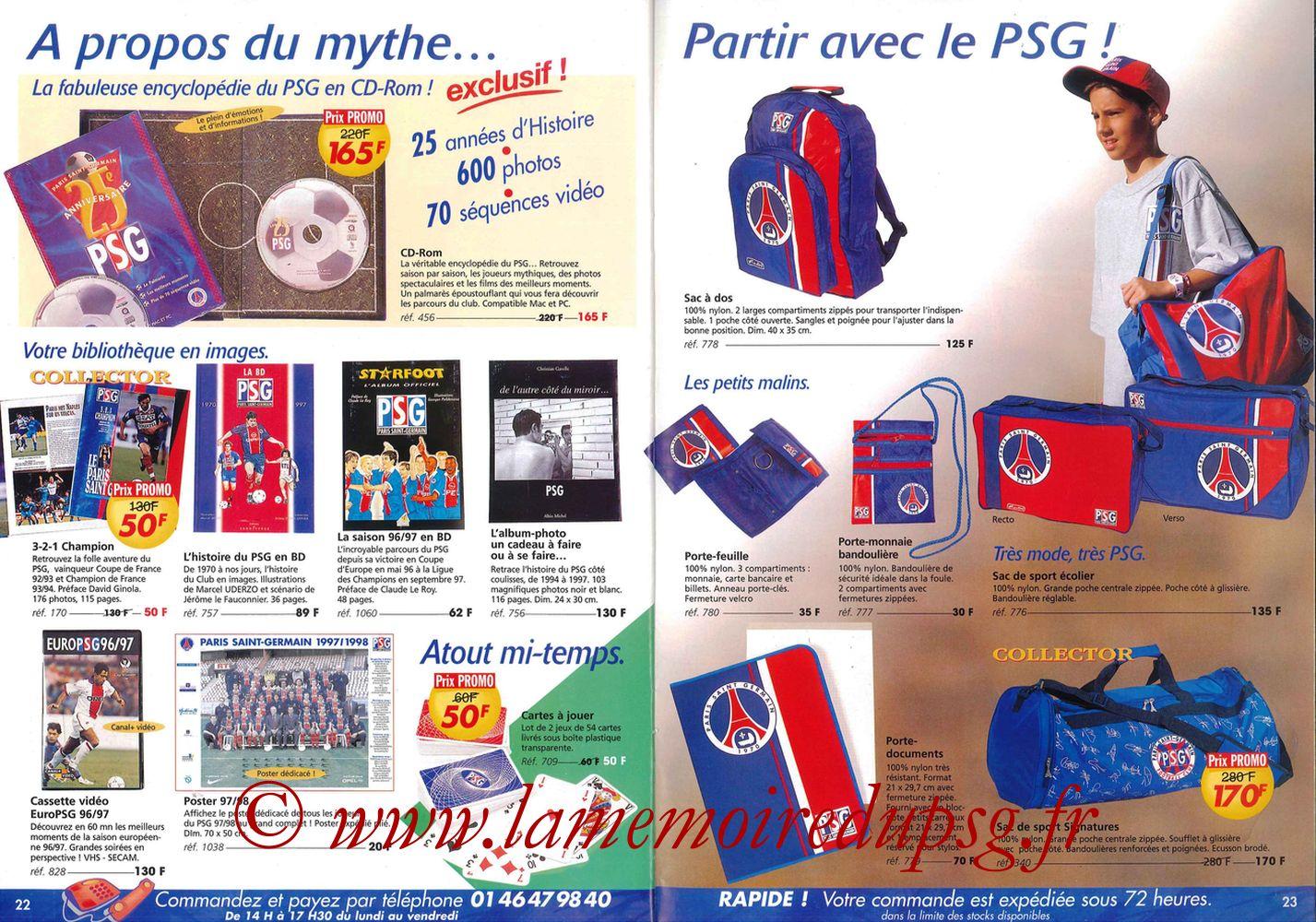 Catalogue PSG - 1997-98 - Pages 22 et 23