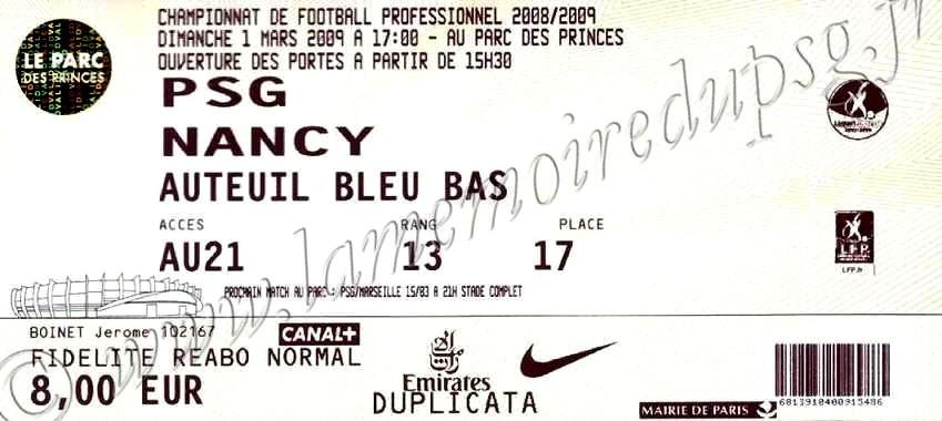 2009-03-01  PSG-Nancy (26ème L1)