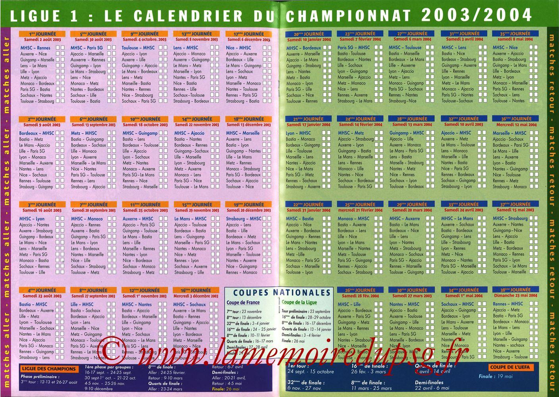 2003-08-30  Montpellier-PSG (5ème L1, MHSC Foot N°73) - Pages 12 et 13