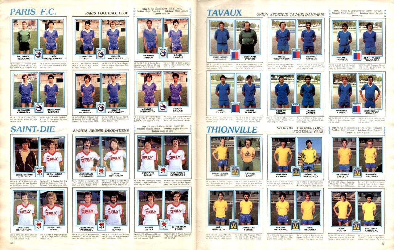 1979-80 - Panini 1980 - Pages 58 et 59 - Paris FC et Saint-Dié + US Tavaux et FC Thionville