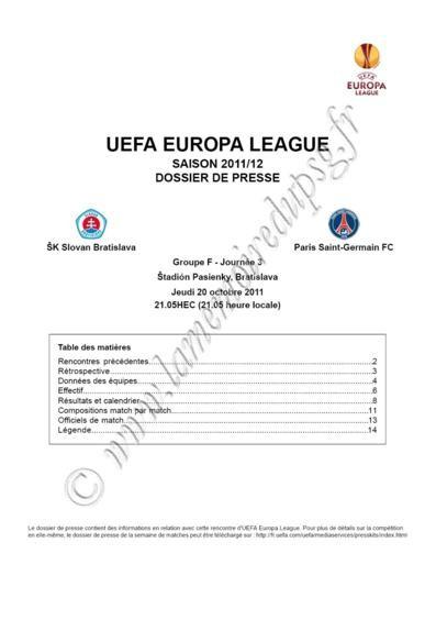2011-10-20  Slovan Bratislava-PSG (3ème poule C3, Dossier de presse)
