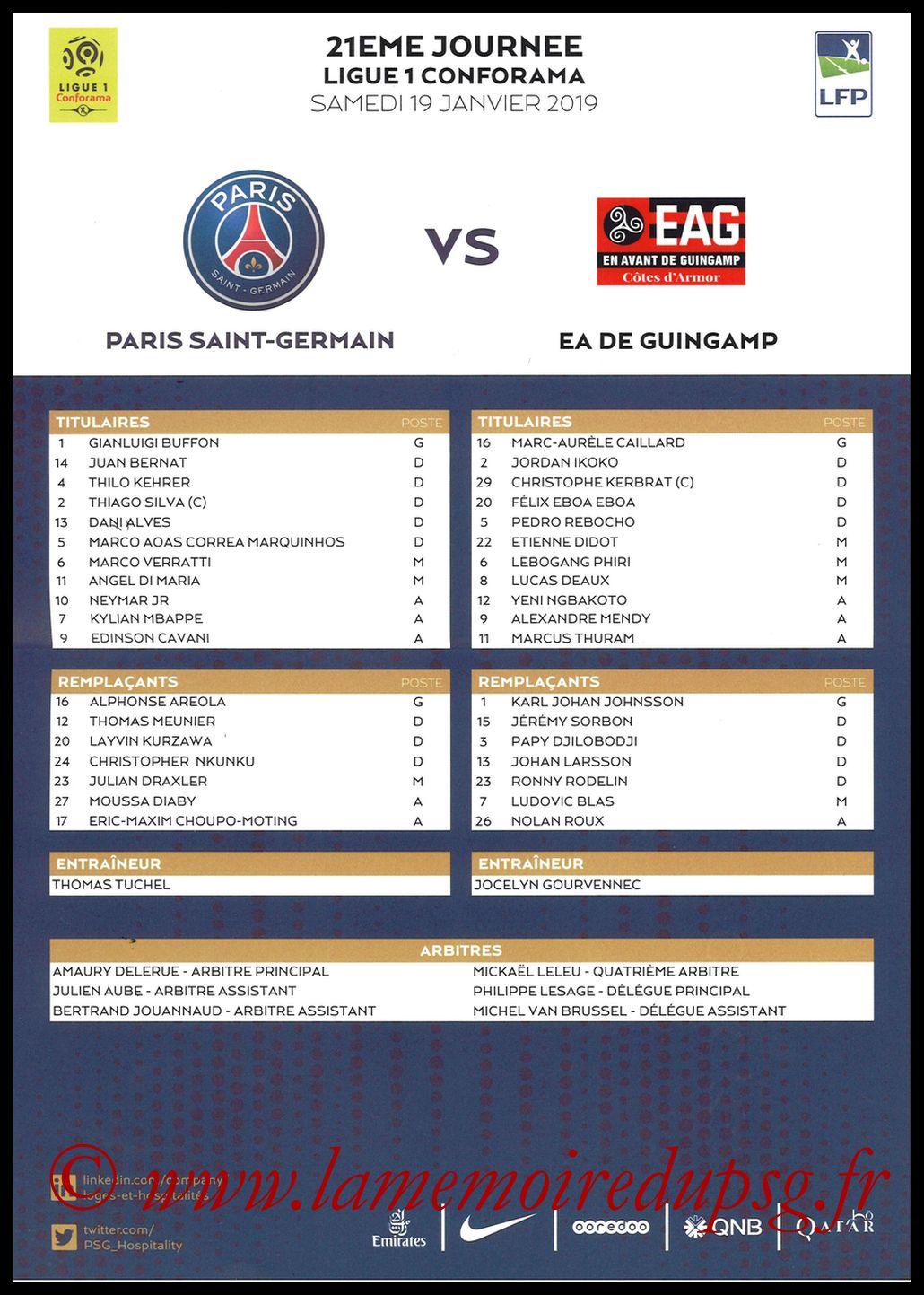2019-01-22  PSG-Guingamp (21ème L1, Feuille de match)