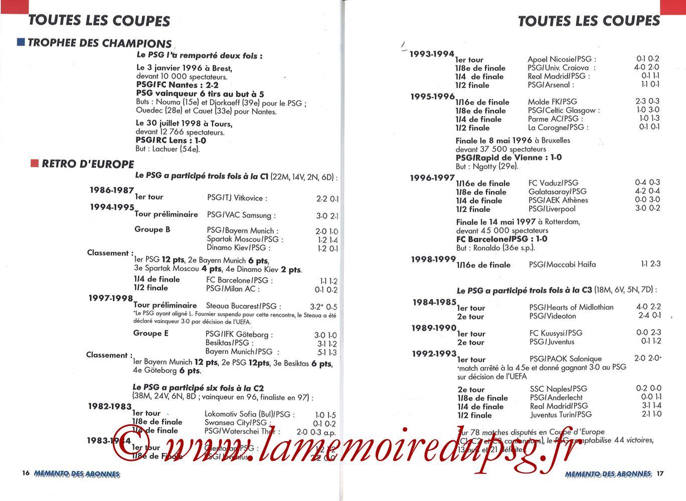 1999-00 - Guide de la Saison PSG - Pages 16 et 17