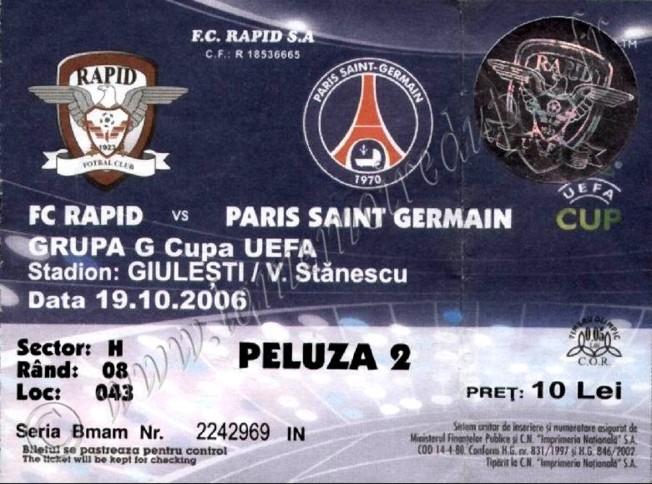 2006-10-19  Rapid Bucarest-PSG  (1ère journée poule C3)