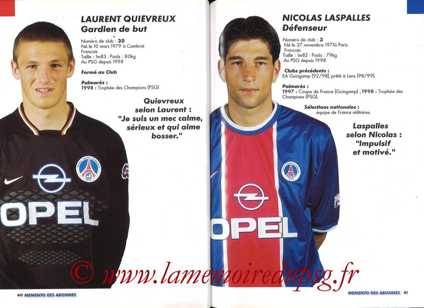 1999-00 - Guide de la Saison PSG - Pages 40 et 41