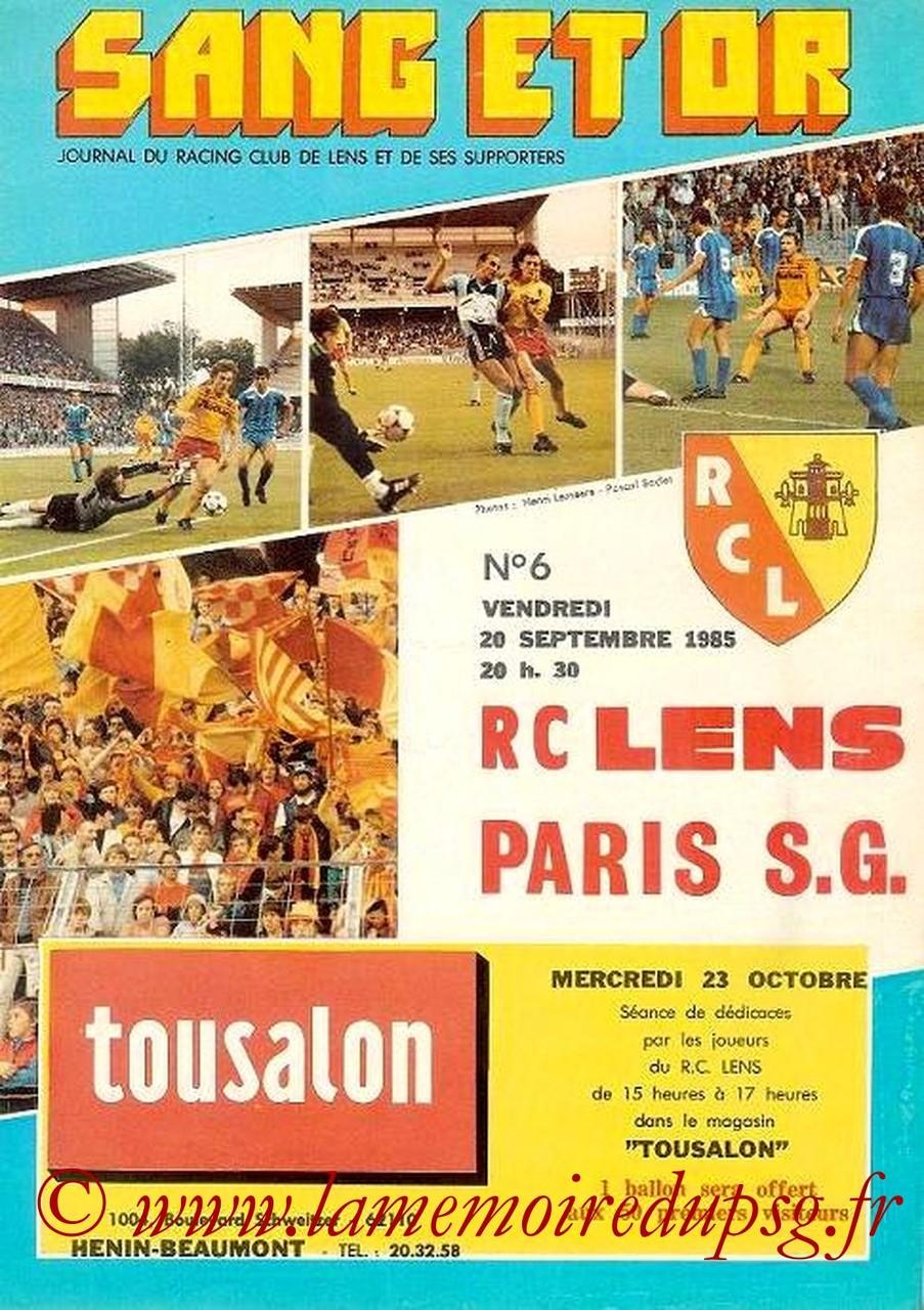 1985-09-20  Lens-PSG (12ème D1, Sang et Or N°6)