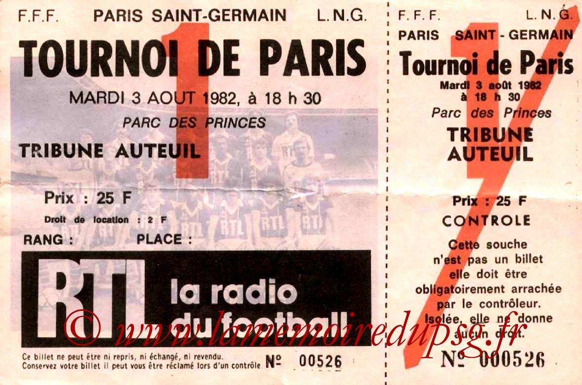 1982-08-03  PSG-Atletico Mineiro (Demi-finale Tournoi de Paris,Entier)