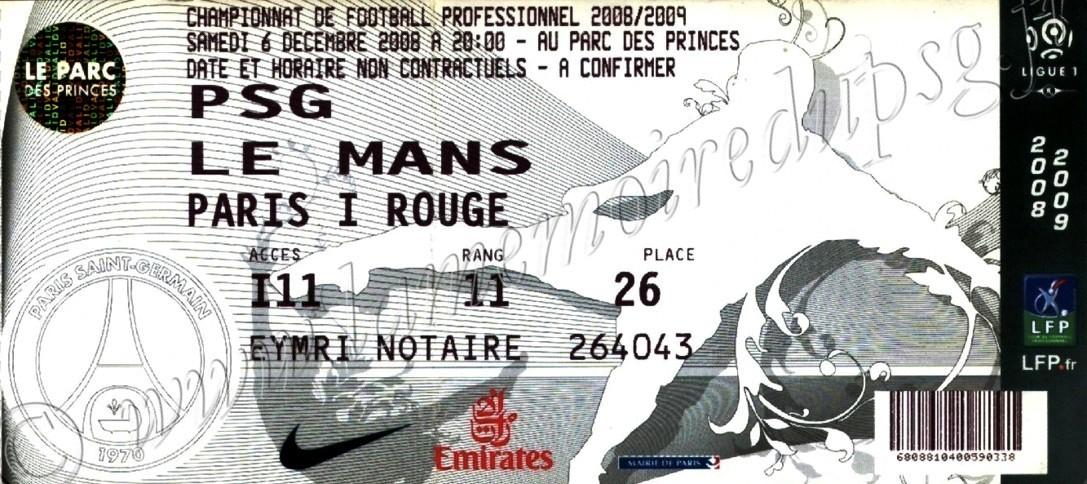 2008-12-07  PSG-Le Mans (17ème L1, bis)