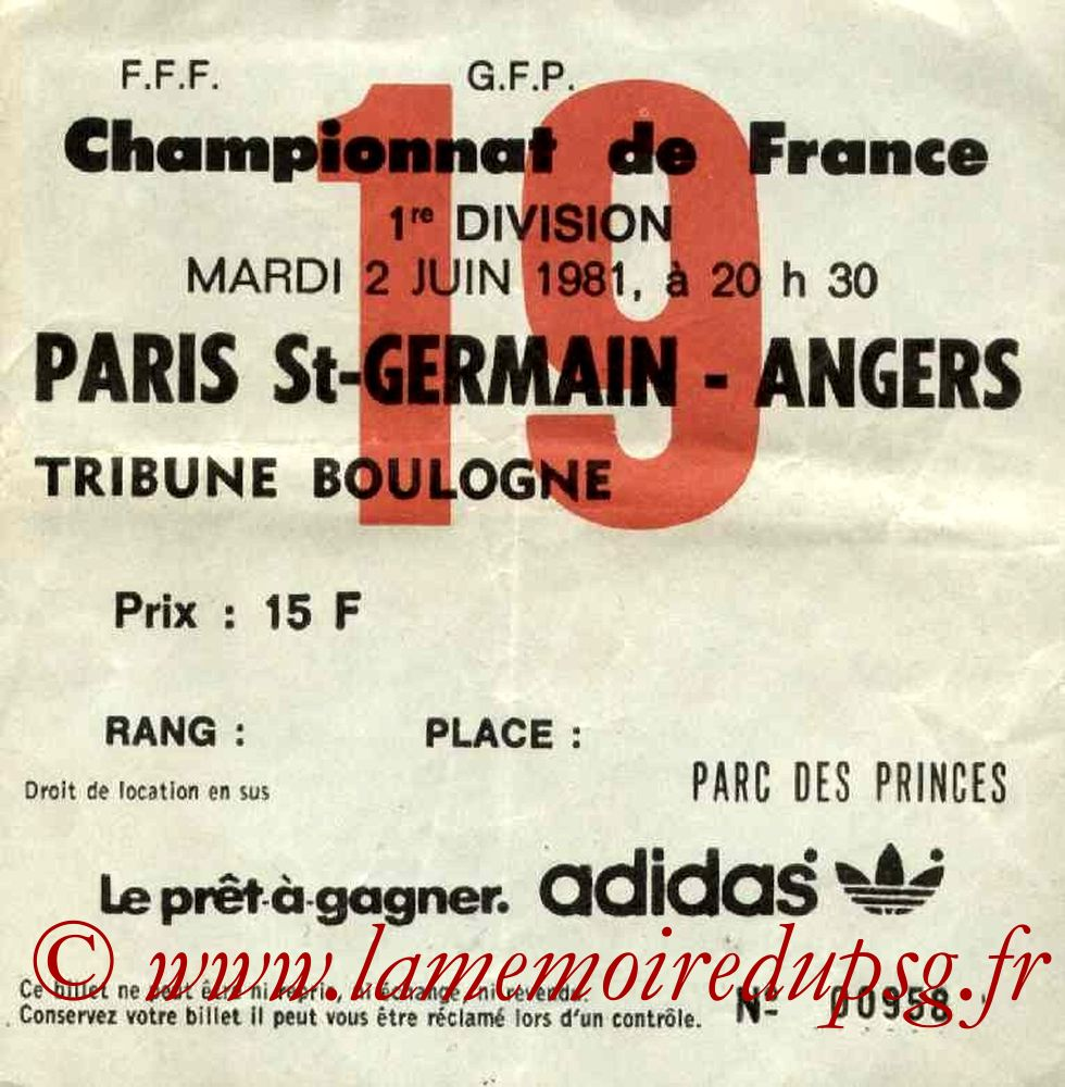 1981-06-02  PSG-Angers (38ème D1, Ticket N°19)