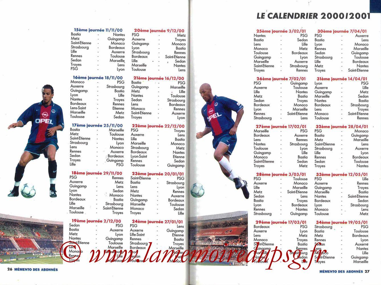 2000-01 - Guide de la Saison PSG - Pages 26 et 27