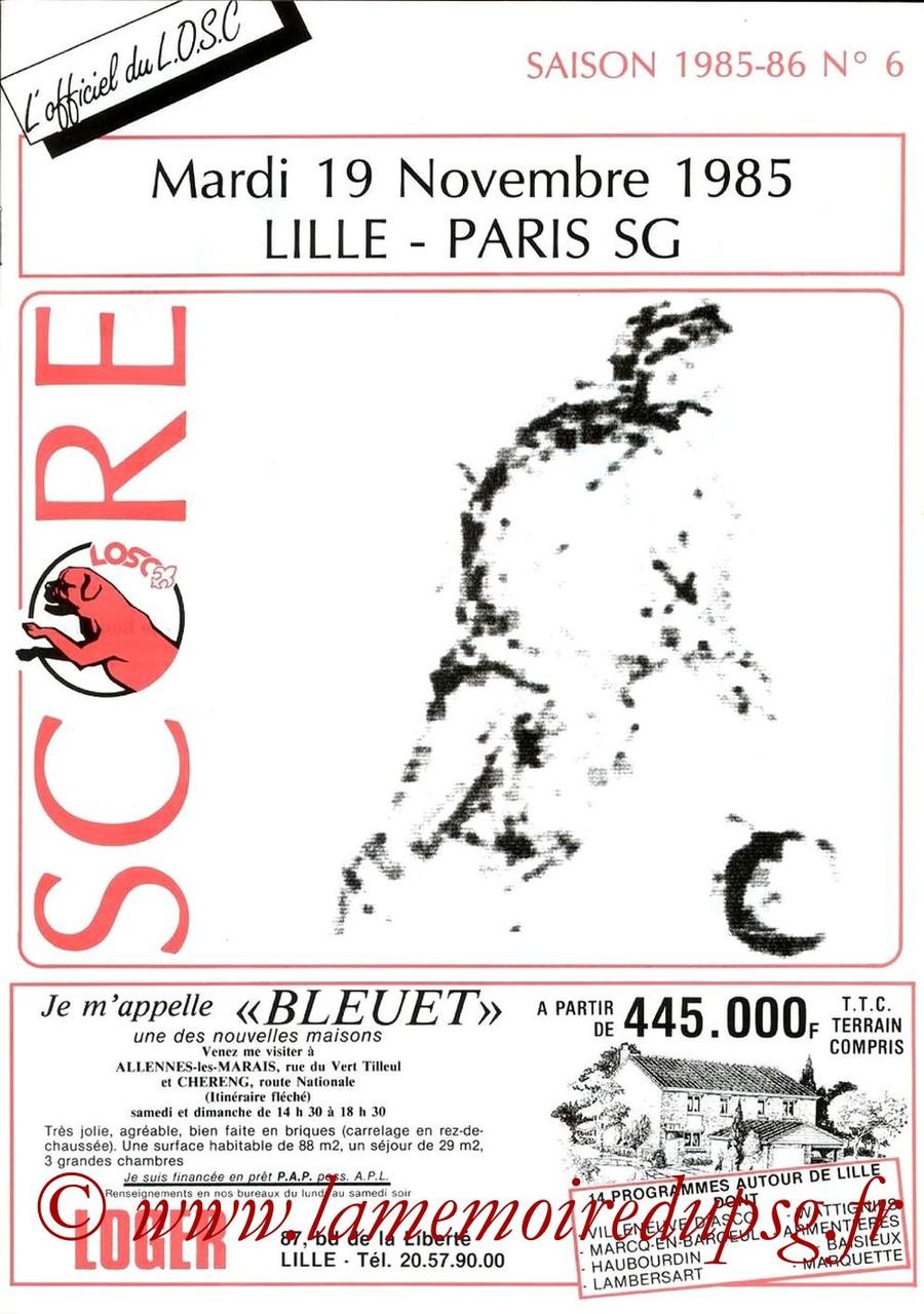 1985-11-19  Lille-PSG (20ème D1, Match annulé, Score N°6)