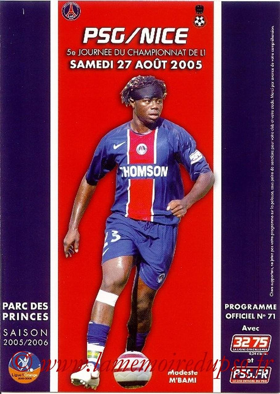 2005-08-27  PSG-Nice (5ème L1, Officiel N°71)