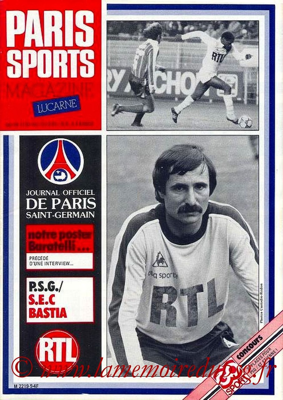 1981-11-21  PSG-Bastia (19ème D1, Paris Sports Magazine N°9)