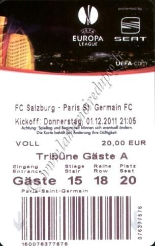 2011-12-01  FC Salzburg-PSG (5ème poule C3)