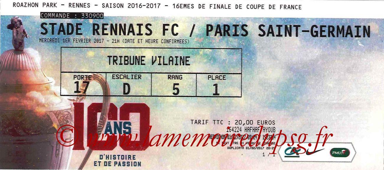 2017-02-01  Rennes-PSG (16ème CF)