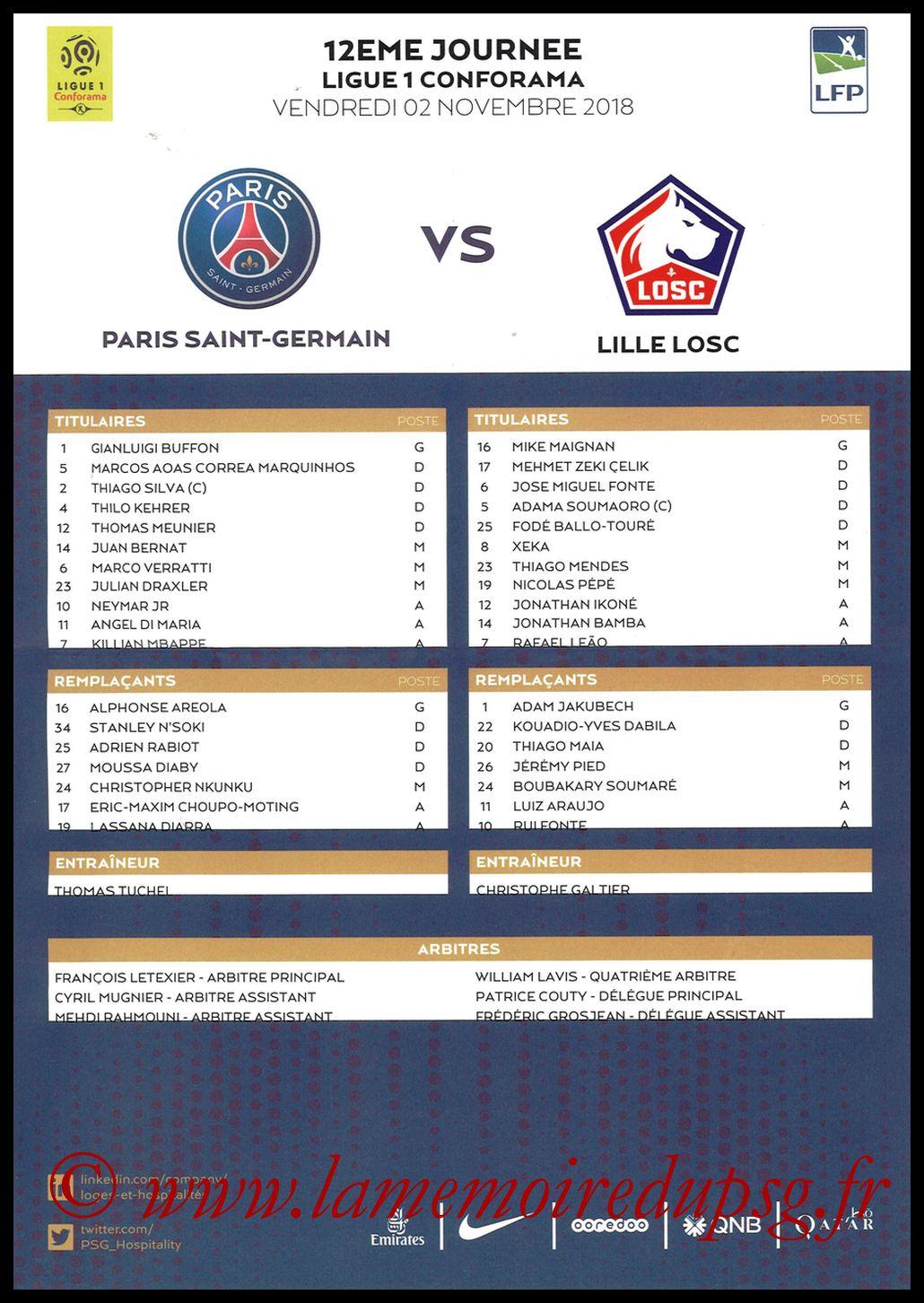 2018-11-02  PSG-Lille (12ème L1, Feuille de match)