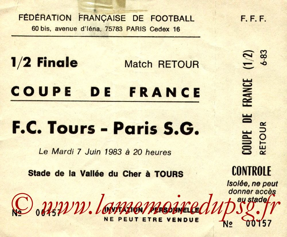 1983-06-07  Tours-PSG (Demi-Finale Retour CF, Invitation)