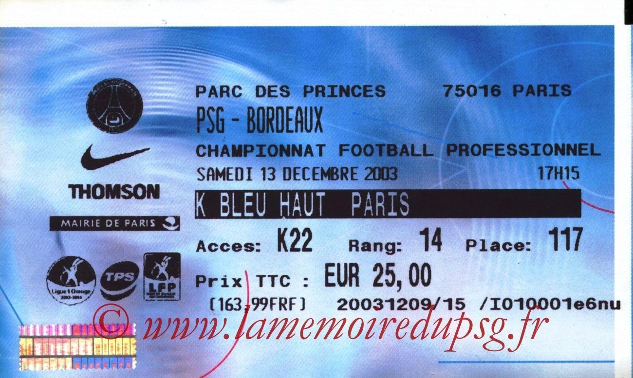 2003-12-13   PSG-Bordeaux (18ème L1, Billetel)