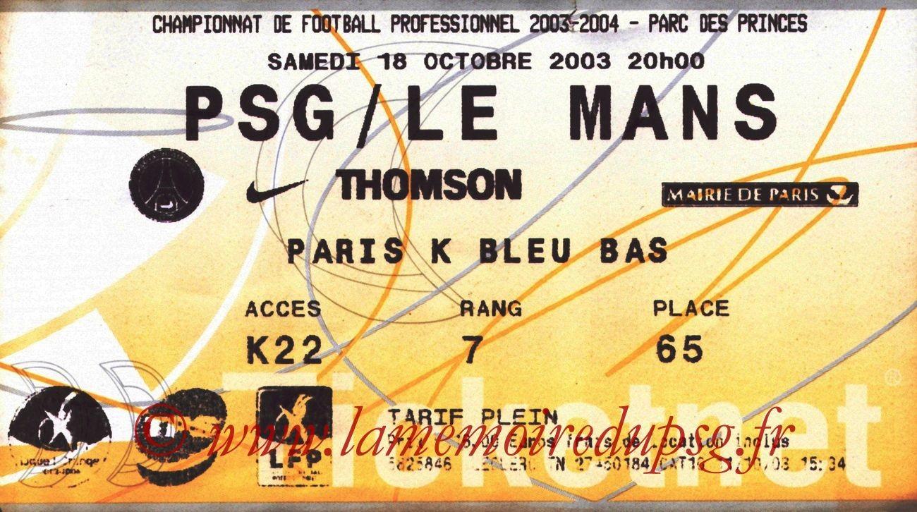 2003-10-18   PSG-Le Mans (10ème L1, Ticketnet)