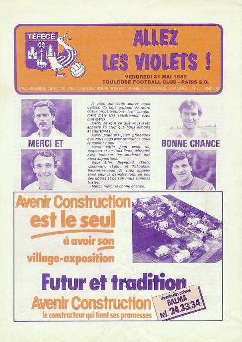 1985-05-31  Toulouse-PSG (Demi-Finale Aller CF, Allez les violets)