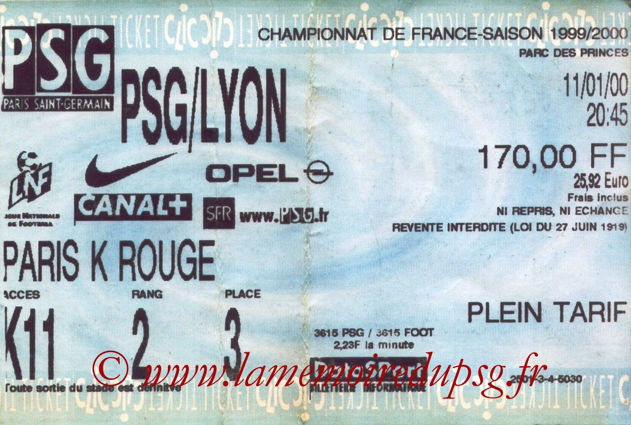 2000-01-11  PSG-Lyon (21ème D1, bis)