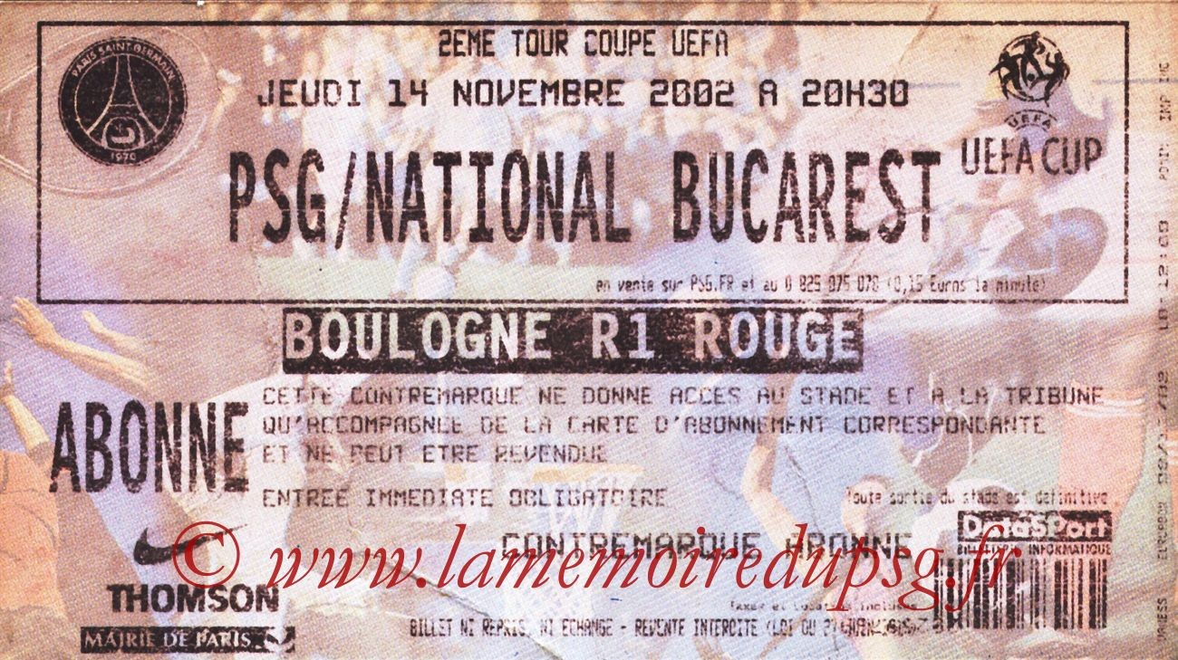 2002-11-14  PSG-National Bucarest (32ème Finale Retour C3, bis)