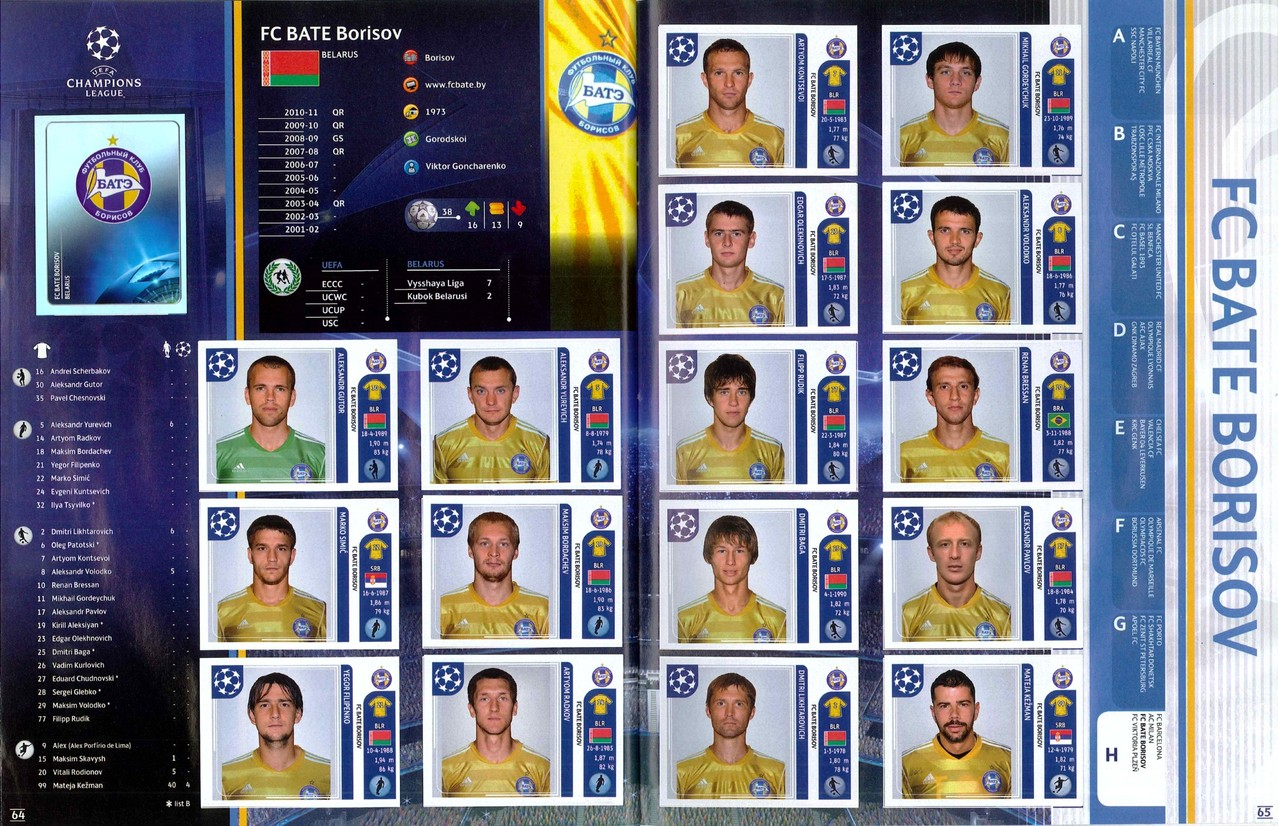 2011-12 - Panini Champions League - Pages 64 et 65 - FC Bate Borisov
