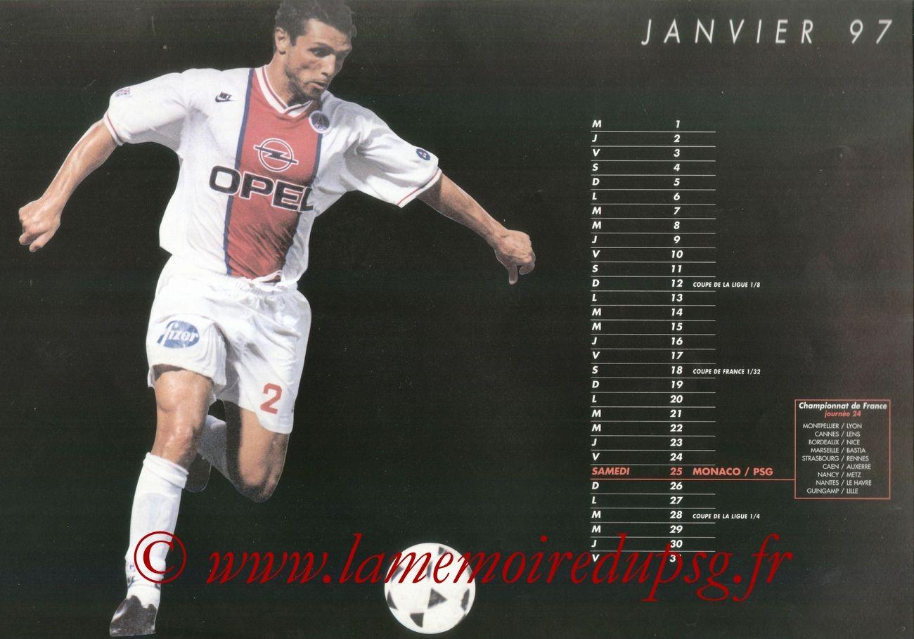 Calendrier PSG 1996-97 - Page 06 - Laurent FOURNIER