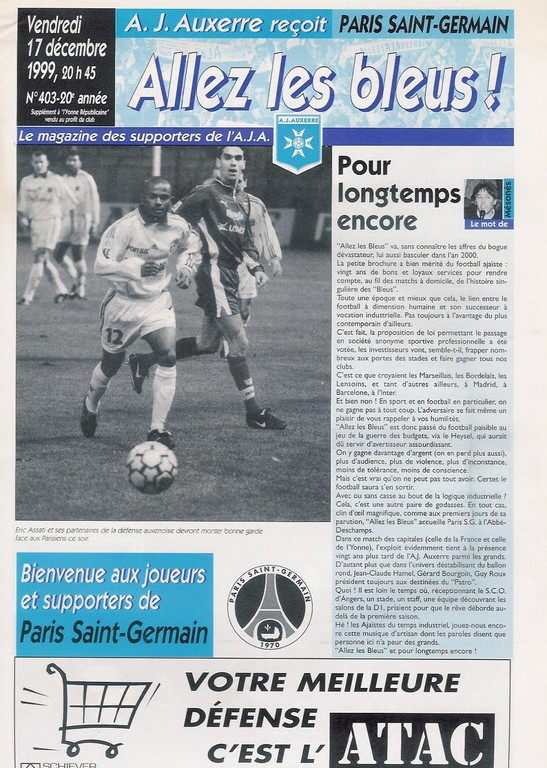 1999-12-17  Auxerre-PSG (20ème D1, Allez les Bleus N°403)