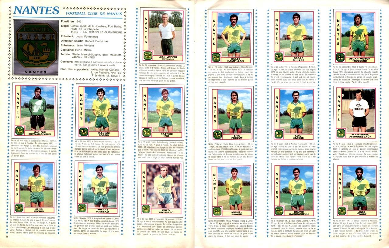 1979-80 - Panini 1980 - Pages 26 et 27 - FC Nantes