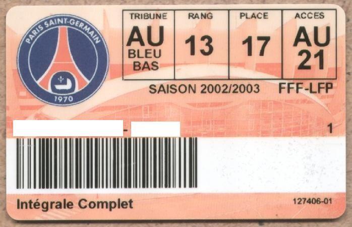 Carte d'abonné PSG 2002-03