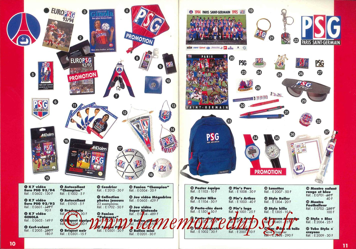 Catalogue PSG - 1994-95 - Pages 10 et 11