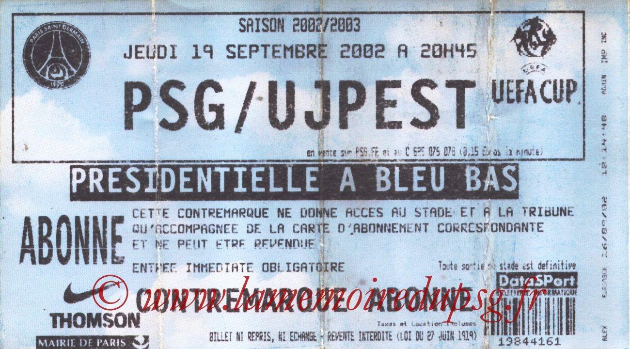 2002-09-19  PSG-Ujpest (64ème Finale Aller C3, bis)