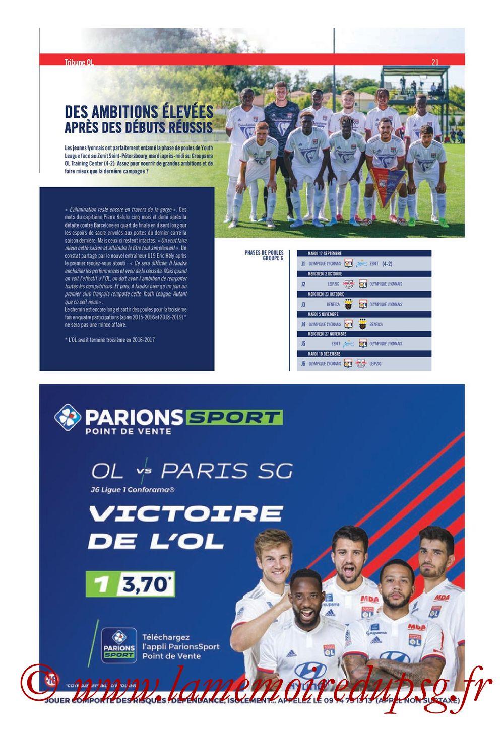 2019-09-22  Lyon-PSG (6ème L1, Tribune OL N°284) - Page 21