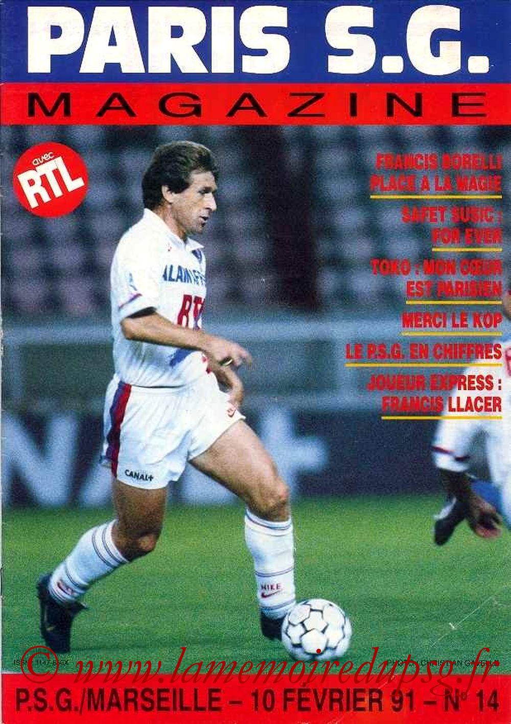 1991-02-10  PSG-Marseille (26ème D1, Paris SG Magazine N°14)
