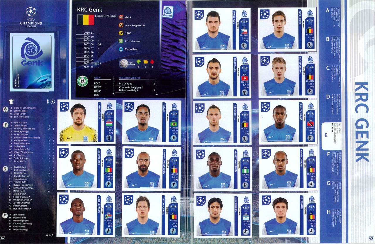 2011-12 - Panini Champions League - Pages 42 et 43 - KRC Genk