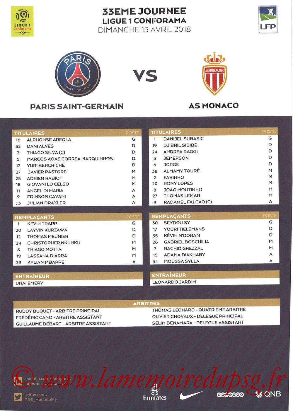 2018-04-15  PSG-Monaco (33ème L1, Feuille de match)