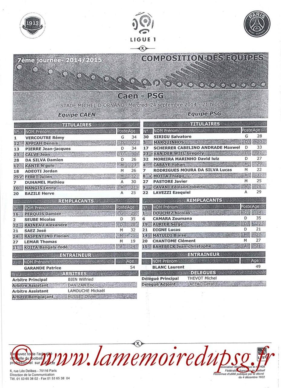 2014-09-24  Caen-PSG (7ème L1, Feuille de match)